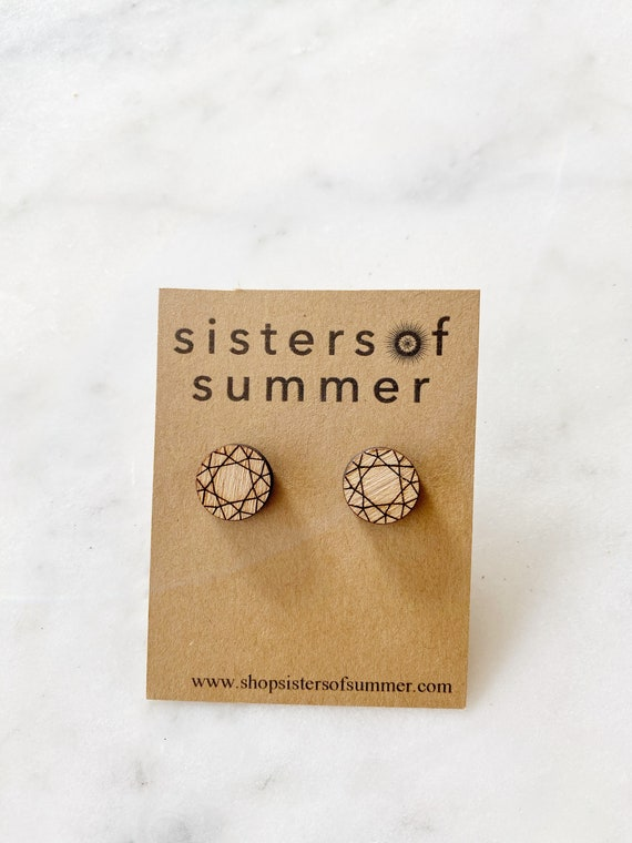 Wood Disc Diamond Gemstone Earring Studs