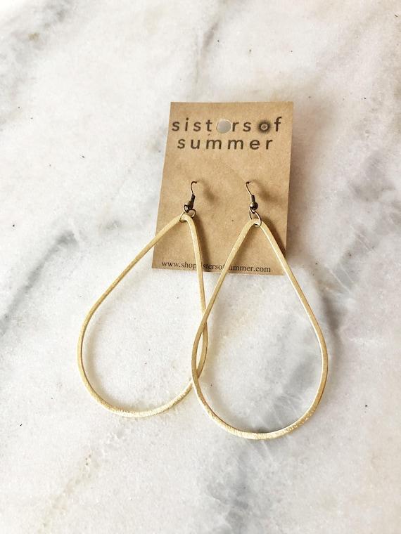 14K Gold Plated Teardrop Shaped Drop Earrings
