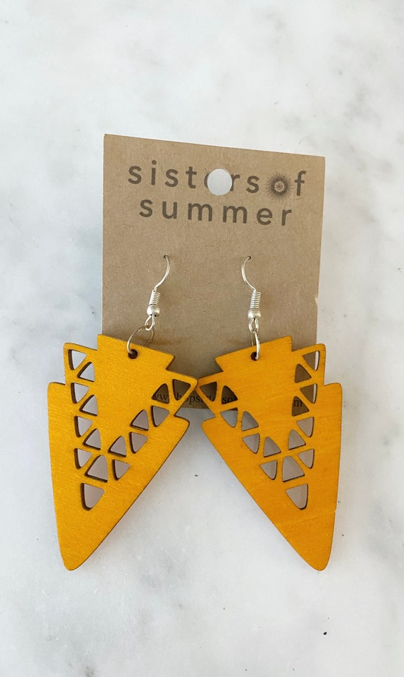 Geometric Orange Arrowhead Shield Natural Wood Earring