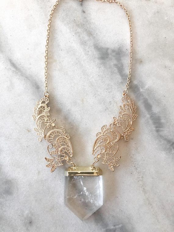 Gold Filagree Quartz Crystal Statement Necklace