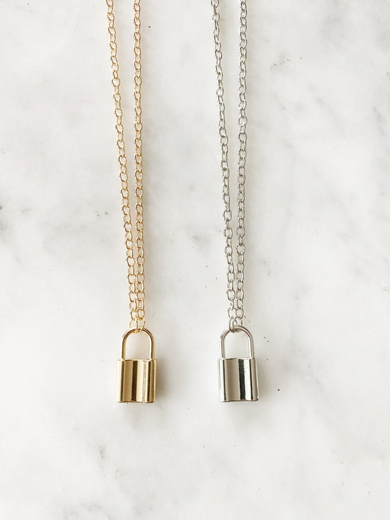 Metal Lock Pendant Necklace in Gold or Silver