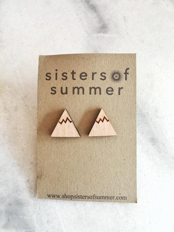 Wooden Mountain Stud Earrings