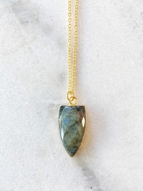 14K Gold Labradorite Point Necklace