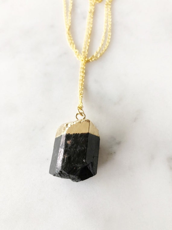 14K Gold Plated Black Tourmaline Necklace with 30 in. Gold Filled Chain