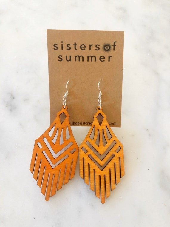 Geometric Fringe Laser Cut Wood Earrings