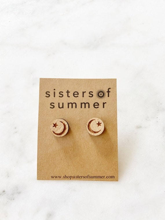 Moon and Stars Disc Wood Stud Earrings