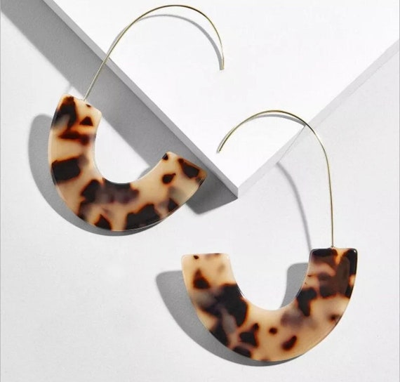 Tortoise Shell and White Pearl Acetate Drop Smile Earrings