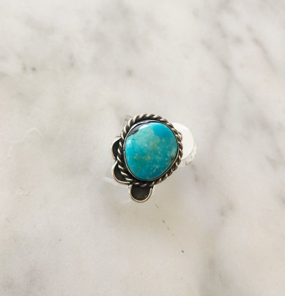 Vintage Turquoise Navajo Silver Statement Ring