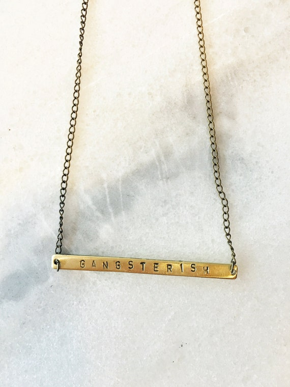 Gangsterish Rectangle Bar Hand Stamped Necklace