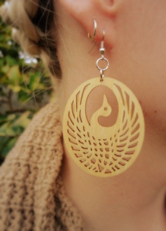 Peacock Wood Earrings