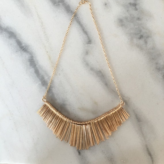 Metal Tassel Bib Statement Necklace