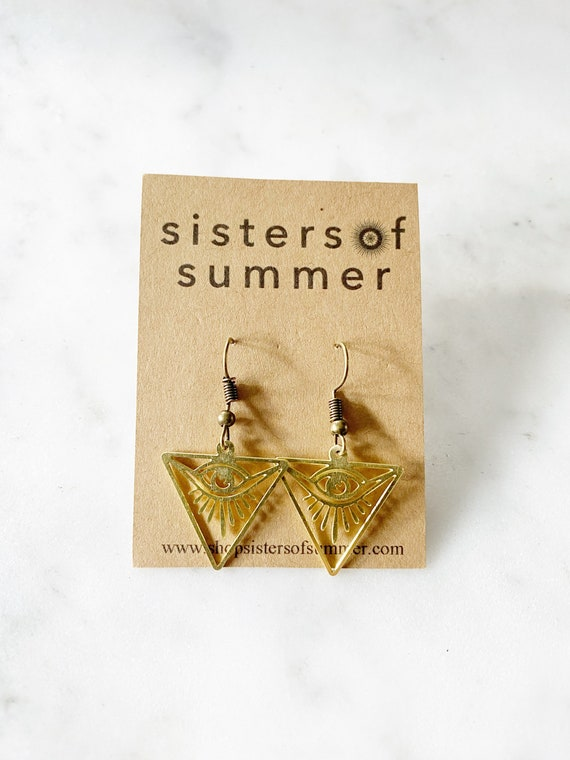 All Seeing Eye Triangle Earrings Protection
