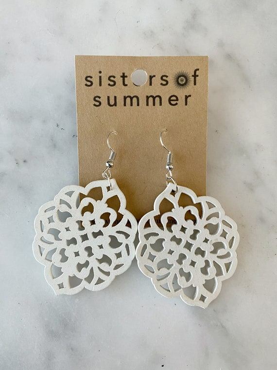 Geometric Round Lace Scroll Wood Earring