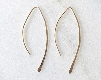 Almond Hoop Earrings 14K Gold Filled or Sterling Silver Open Hoops - Medium