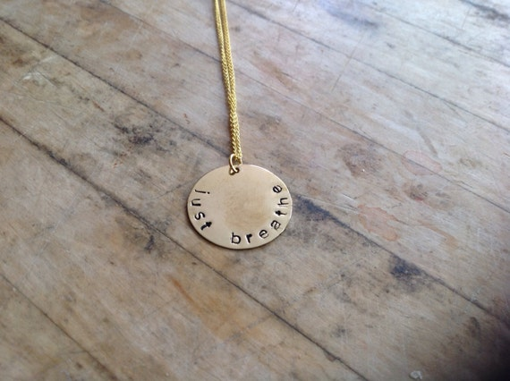Just Breathe Hand Stamped Brass Plate Necklace
