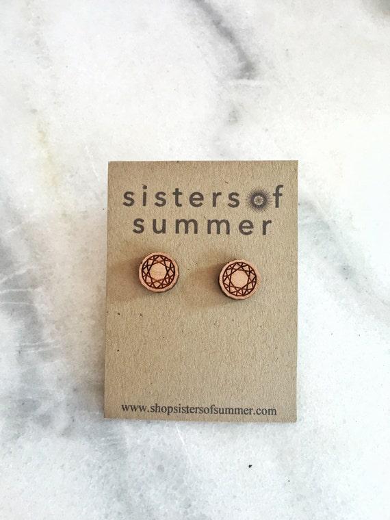 Wooden Round Diamond Stud Earrings