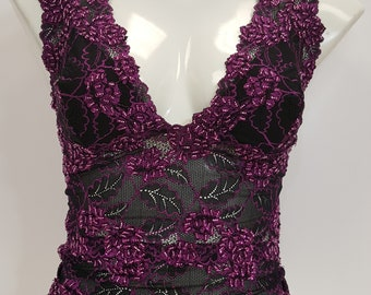 1fecc2f299fb1 Sequinned waist length lace top in black and purple combination blouse cami  hand beaded.