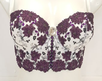 2cd0907eff Hand beaded bra top half corset crop top bustier in white and purple  combination.