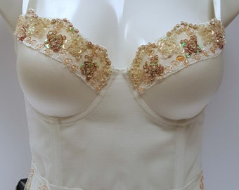 4ea147289d1 Embellished bustier corset longline waist length bra in ivory color with  floral beading.