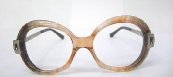 Vintage 1970's Plastic Brown Round RX Frames Eyegl