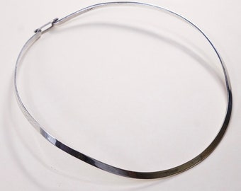 Vintage sterling silver choker collar necklace 925 Mexico silver bamboo necklace 14 stamped 925 #1074