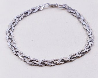 Vintage Sterling Silver Triple Strand Mixed Chain Bracelet marked 925 Italy
