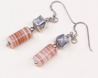 Vintage 000409 Sterling silver handmade earrings solid Thailand 925 silver origami beads with orange agate drops Stamped 925