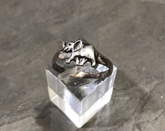 Size 8.25 sterling silver handmade ring stamped sterling vintage 010297 Solid 925 silver elephant band