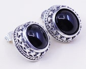 Vintage Sterling silver handmade earrings, filigree 925 studs with oval onyx, stamped 925