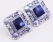 Vintage Sterling silver handmade earrings, filigree 925 studs with square onyx, stamped 925 mexico