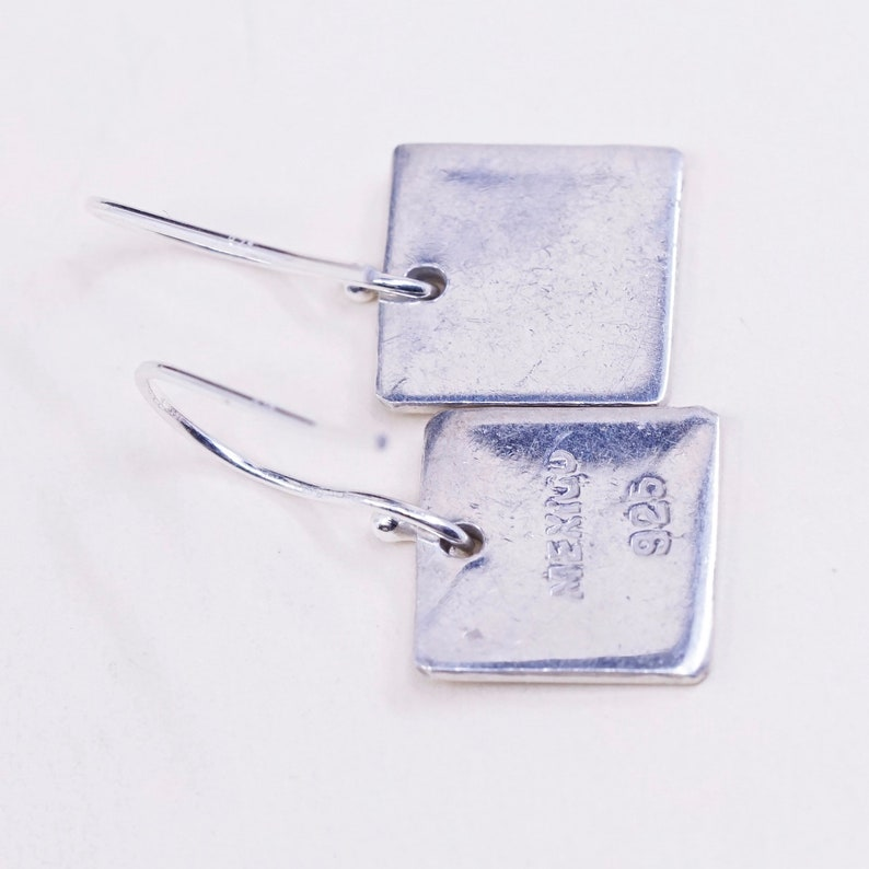 Mexico 925 square dangle Vintage Sterling silver handmade earrings Stamped 925 mexico
