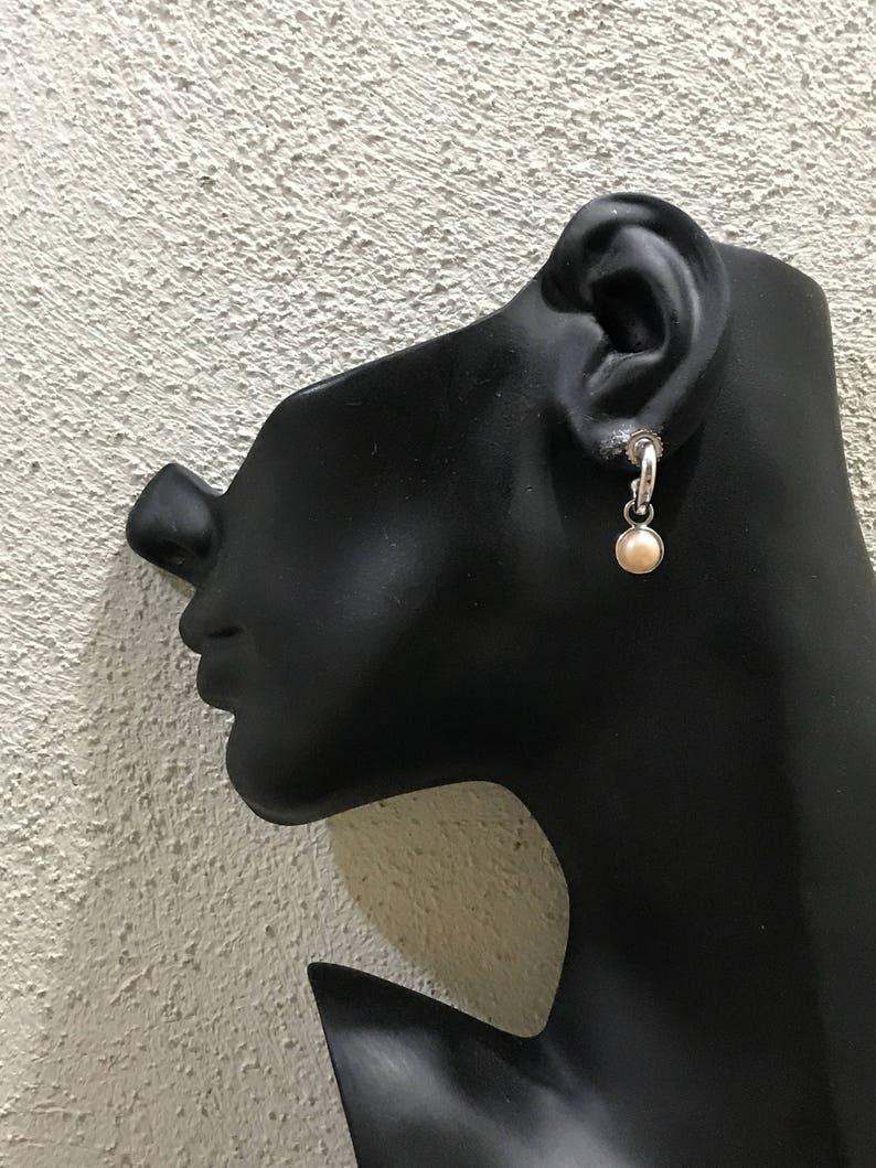 0.5 000263 Vintage fashion minimalist primitive hoops with pearl sterling silver loop earrings stamped 925