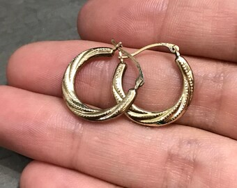 "0.5"", Vintage gold over sterling silver loop earrings, fashion minimalist, fine 925 silver hoops"