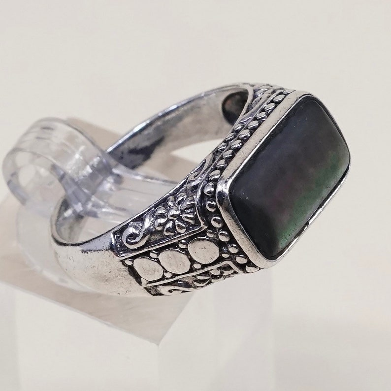 solid 925 silver Bali with abalone sterling silver handmade ring Size 10.75 stamped 925 Vintage 010423