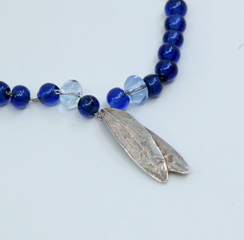 Sterling silver handmade necklace stamped 925 italy 925 circle link chain with leaves pendant and blue glass beads 16+1.5\u201d