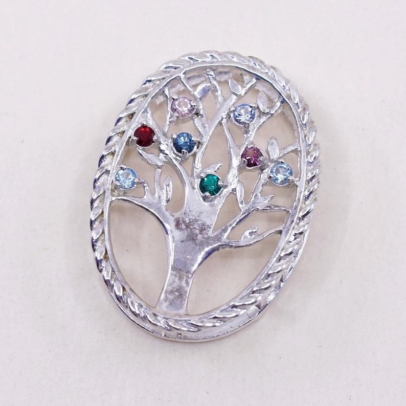 Vintage Sterling silver handmade pendant 925 filigree tree and crystal stamped 925