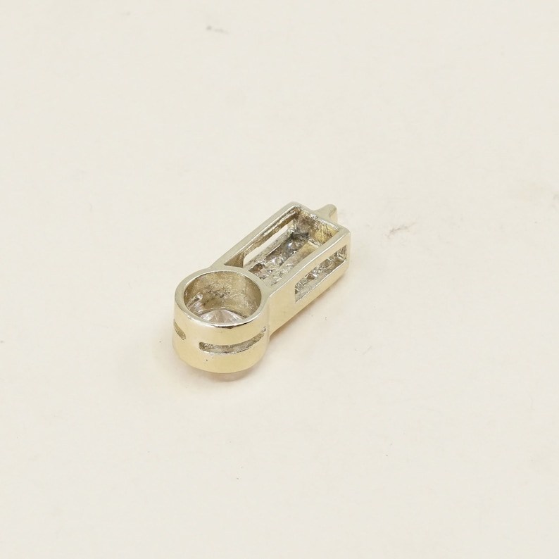 Gold over sterling silver pendant 020631 minimalist modernist stamped 925 fine 925 silver with cz