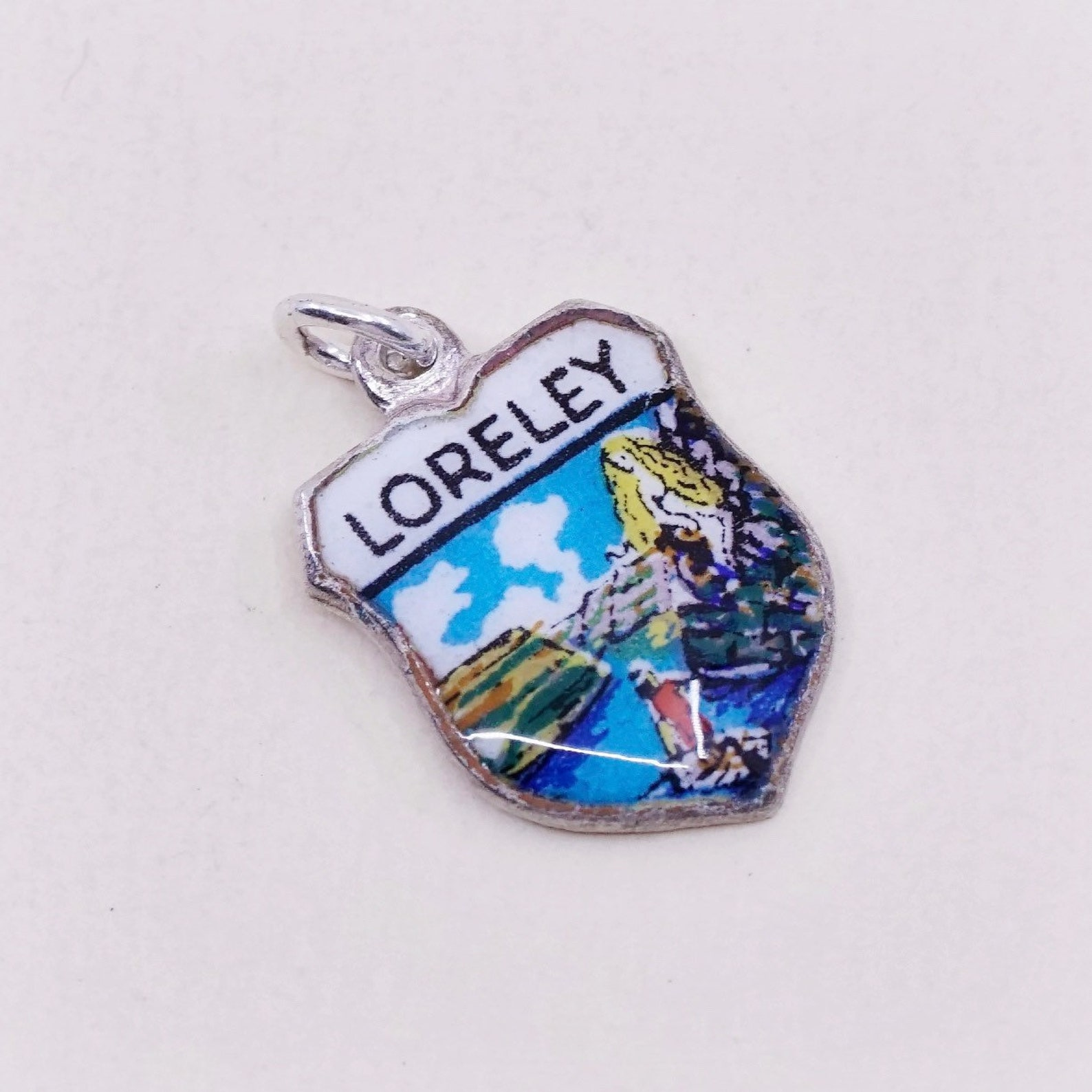 "Vintage Sterling silver handmade pendant, enamel flag charm engraved ""loreley"", stamped 800"