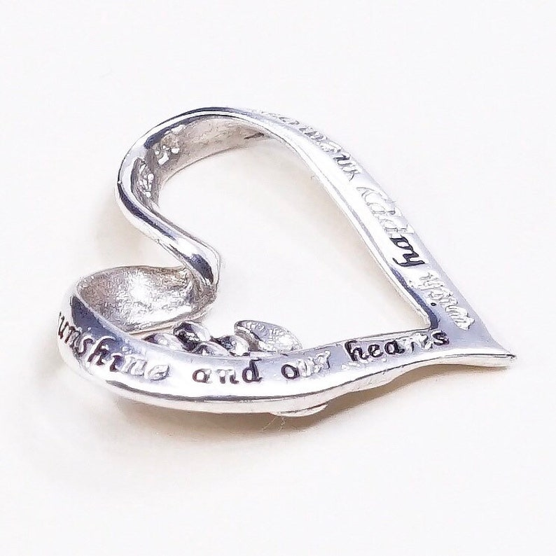 Sterling silver inspirational quote pendant Vintage 925 silver heart with daughters fill out days with sunshine and our hearts wi 020029
