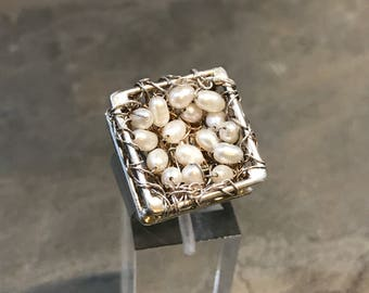 Size 7, vintage Sterling silver handmade ring, southwestern style, solid 925 silver wired pearl nest, stamped 925
