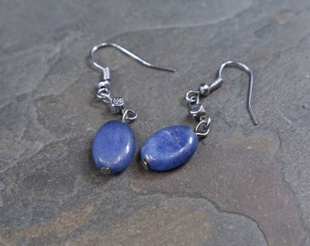 Vintage Sterling Silver Handmade earrings, solid 925 silver with oval shaped lapis lazuli drops, stamped 925