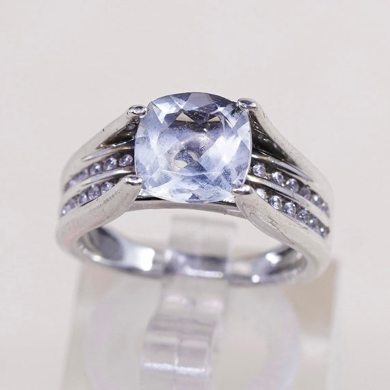 silver tested Size 7 010760 Sterling engagement ring silver ring 925 silver with round cut CZ and CZ cluster details