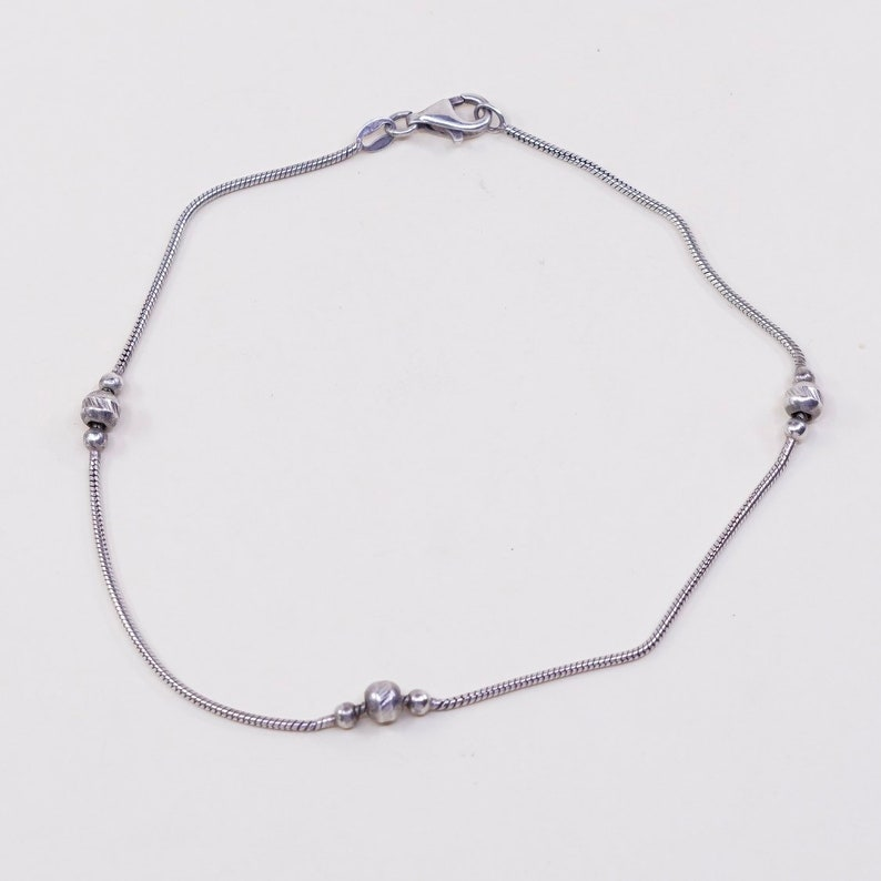 sterling silver anklet 030744 Vintage stamped 925 Italy 10.5 925 fine Italy silver snake chain
