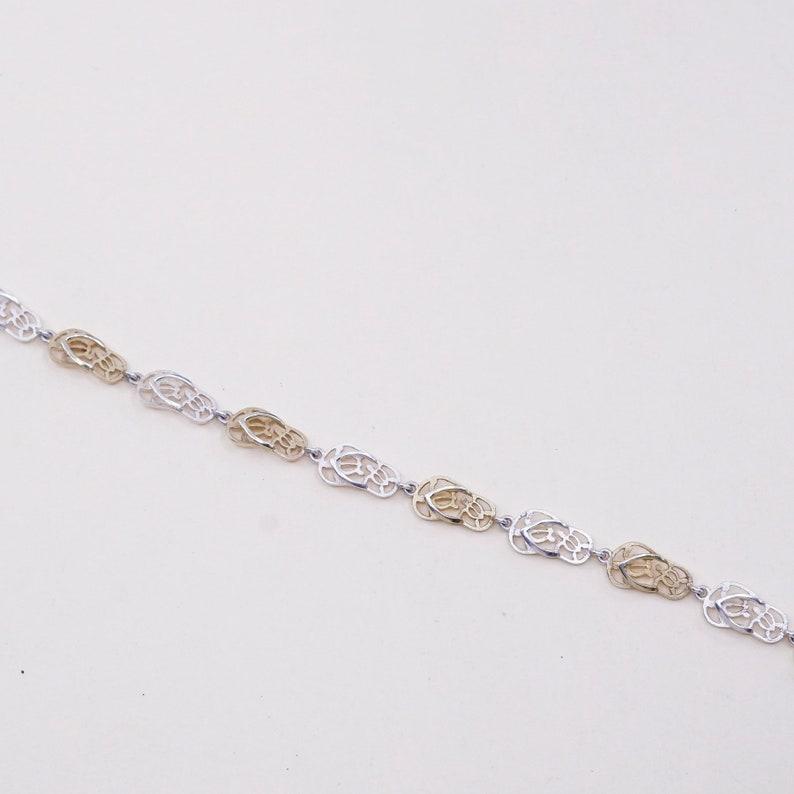 vintage two tone sterling 925 silver handmade sandal flip flop link bracelet 5.5\u201d stamped 925