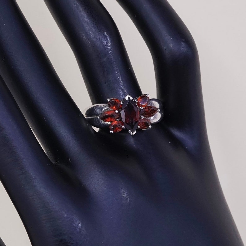 Vintage stamped 925 STS sterling silver handmade ring 925 silver ring with ruby Size 9 010828