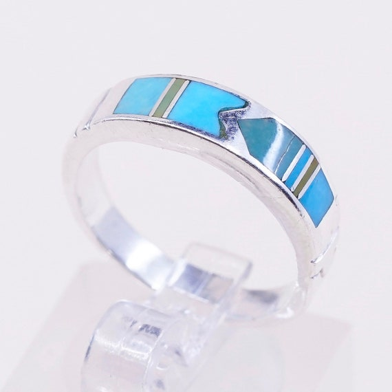 Size 8.5 stamped Sterli vintage zuni sterling silver handmade ring Native American 925 band with turquoise and coral inlay southwestern