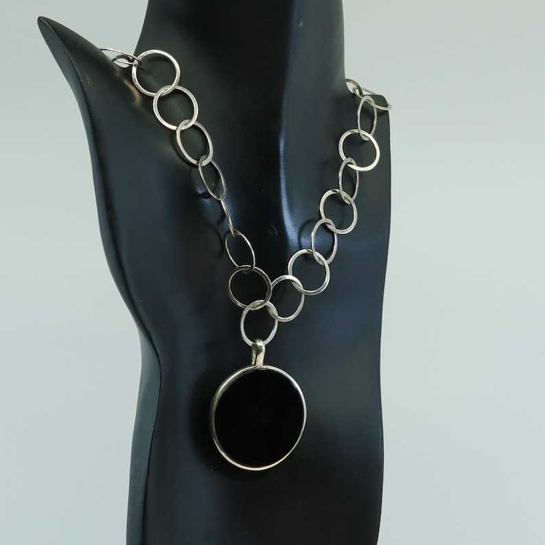 with circle obsidian pendant stamped 925 exex 16+2\u201d Vintage sterling silver handmade necklace,925 bold flatten circle link chain