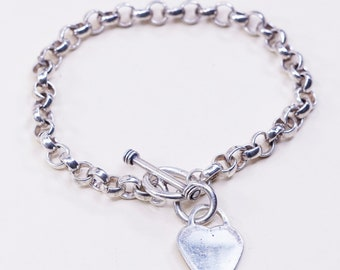 """6.25"""", 6mm, Vintage sterling silver circle bracelet, handmade 925 circle chain with heart charm and toggle closure, stamped 925"""