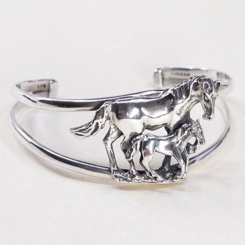 6.5 Vintage 030648 sterling silver cuff stamped 925 Mexico motherhood handmade Mexico 925 silver bracelet with horse and pony