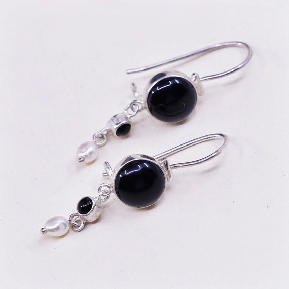 Sterling silver handmade earrings elegant stamped 925 Vintage 000056 simple 925 silver with rectangular shaped obsidian drops